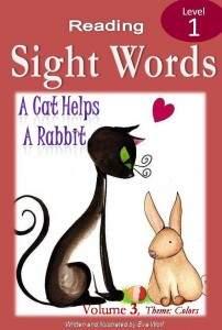 sight word ebook cover of cat helps a rabbit