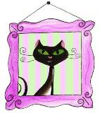 Illustration of the sight word worksheets cat in a frame